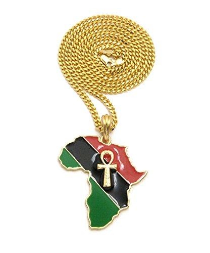Gold-Tone African Colored Africa Map Ankh Pendant