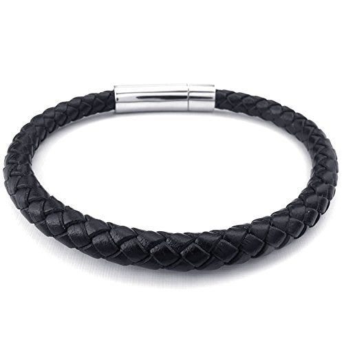 Men Women Leather Stainless Steel Bracelet, 6mm Classic Braided Bangle, Black