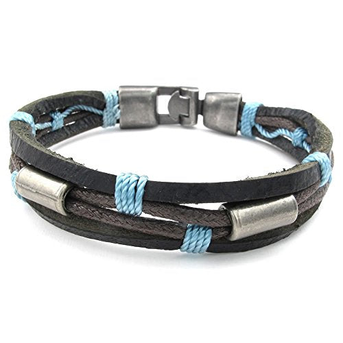 Men Leather Bracelet, Tribal Braided Bangle, Blue Brown - InnovatoDesign