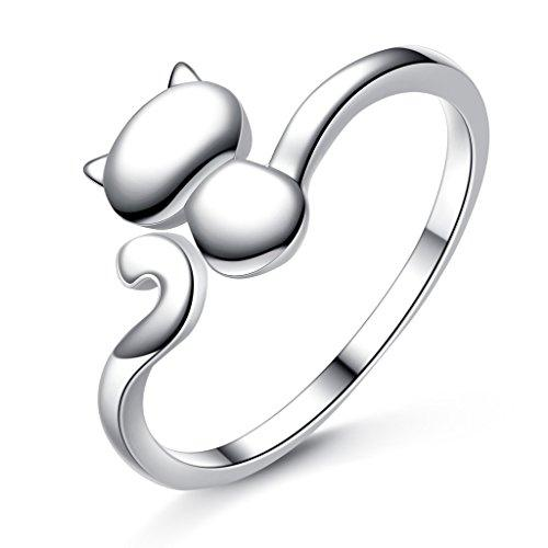 925 Sterling Silver Lovely Cat Animal Adjustable Statement Cocktail Cuff Ring