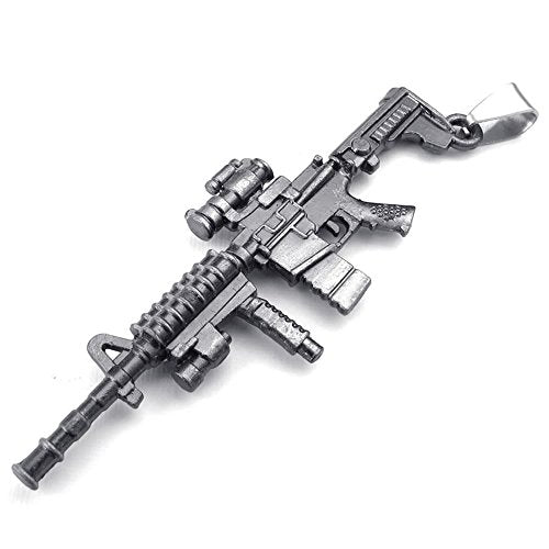 Men Army Style Gun Pendant Necklace, 24 inch Chain, Black - InnovatoDesign