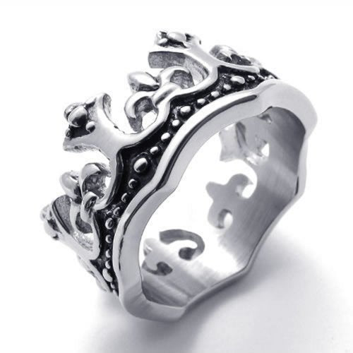 Vintage Crown Stainless Steel Unisex Men Women Ring Black - InnovatoDesign
