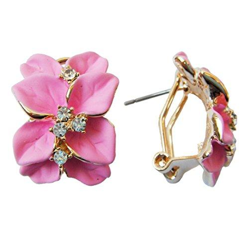 18k Gold Plated Clear Crystal Pink Enamel Leaves Flower Omega Earrings