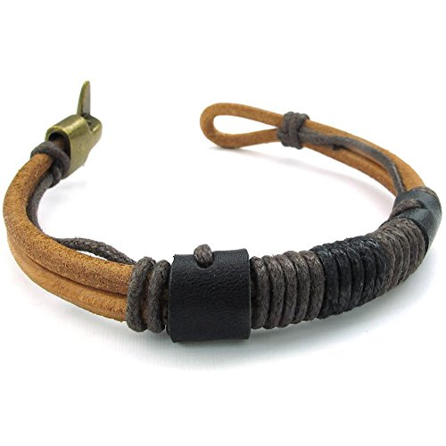 Men Leather Rope Bracelet, Tribal Braided Cuff Bangle, Brown Black
