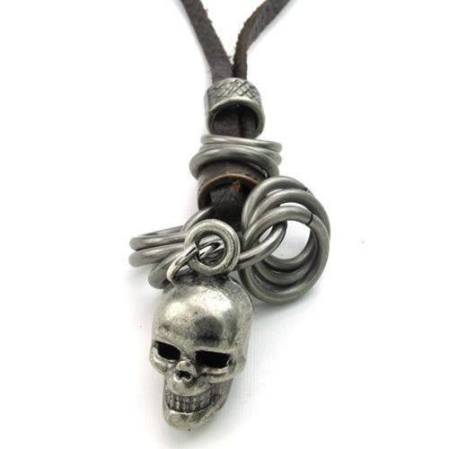 Men Vintage Gothic Skull Pendant Adjustable Leather Cord Necklace Chain, Brown Silver - InnovatoDesign