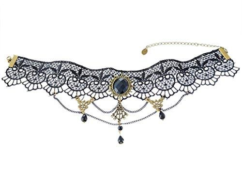 Halloween Gothic Style Vintage Twine Chain Beads Pendant Lace Choker Collar Necklace Black