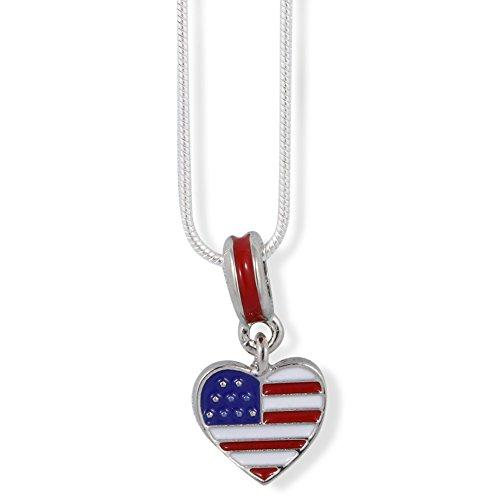 American Flag on Heart Charm Snake Chain Necklace