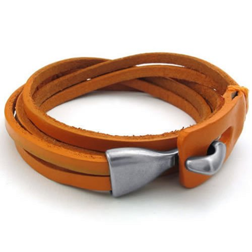 Men Women Leather Bracelet, Wrap Bangle, Orange Silver - InnovatoDesign