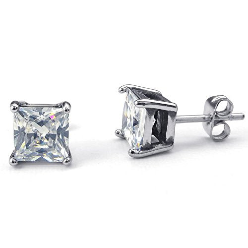 Men Women Cubic Zirconia Stainless Steel Square Stud Earrings, Silver - InnovatoDesign