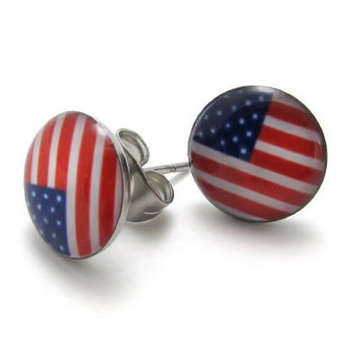 2pcs Stainless Steel USA American Flag Stud Earrings, 1 Pair