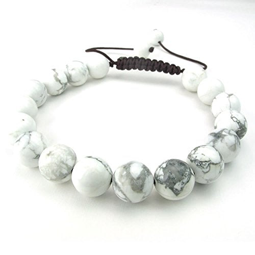 Men Women Natural Gemstone Howlite Turquoise Bracelet, 7-9 inch Adjustable, White