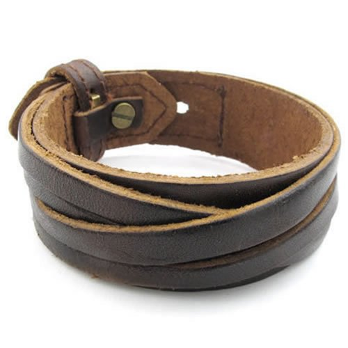 Men Leather Bracelet, Wrap Cuff Bangle, Fit 7-8 inch, Brown - InnovatoDesign