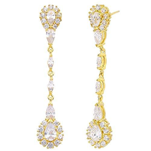 925 Sterling Silver Pave CZ Gold-Tone Gatsby Inspired Chandelier Bride Earrings Clear