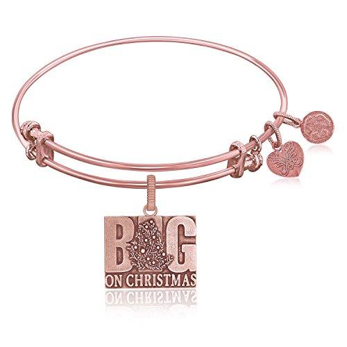 Expandable Bangle in Pink Tone Brass with Big On Christmas Symbol