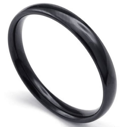 Men Women Stainless Steel Ring, 3mm, Comfort Fit Band, Black