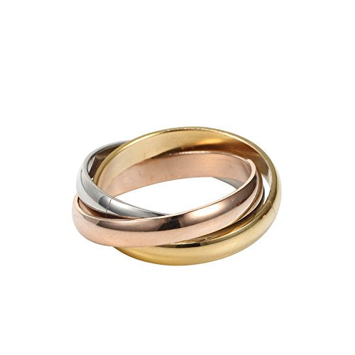 Men's Stainless Steel Women's Tone Interlocked Rolling Wedding Band Ring Tri Color:gold,silver,rose