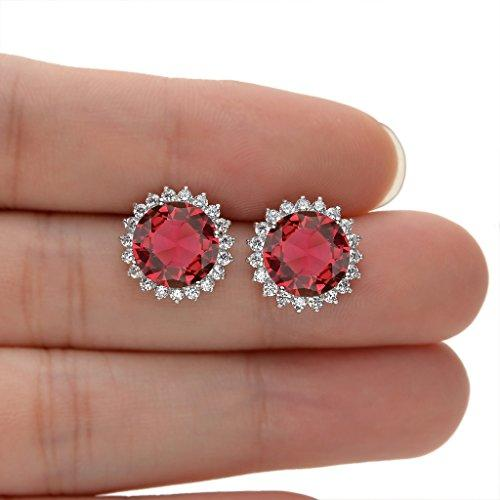 925 Sterling Silver CZ October Birthstone Round Cut Halo Stud Earrings Tourmaline Color