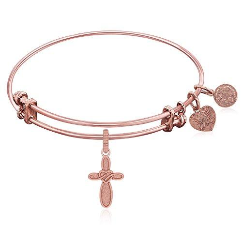 Expandable Bangle in Pink Tone Brass with Cross with Heart Symbol
