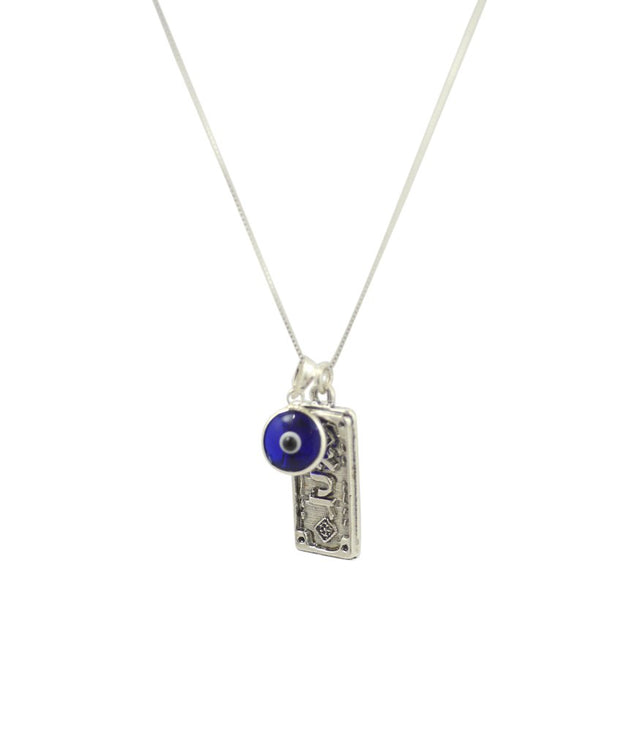 "Sterling Silver Protection Charm Necklace with Evil Eye Charm - 19"" for Men & Women - InnovatoDesign"