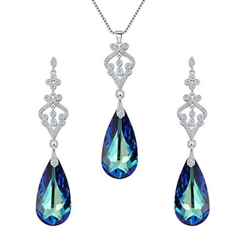 925 Sterling Silver CZ Teardrop Chandelier Pendant Adjustable Necklace Earrings Set Bermuda Blue Adorned with Swarovski crystals