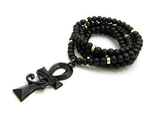 "Egyptian Eye of Heru on Ankh Pendant 6mm 30"" Wooden Bead Chain Necklace in Jet Black Tone"