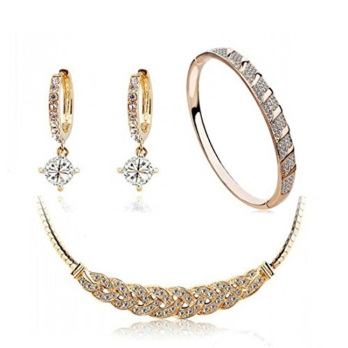 Women's Gold Color Twist Rhinestone Cubic Zirconia Collar Bib Necklace, Bangle Bracelets and Dangle Earrings Jewelry Set - InnovatoDesign