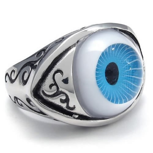Vintage Stainless Steel Eye Men Ring,Blue