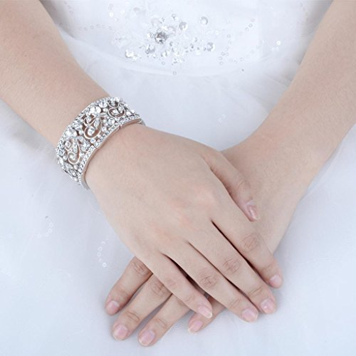 Wedding Flower Wave Stretch Bracelet Clear Austrian Crystal Silver-Tone - InnovatoDesign