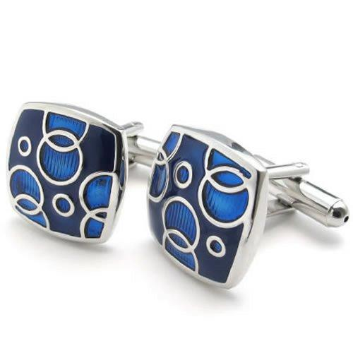 2pcs Rhodium Plated Square Men Shirts Vintage Pattern Cufflinks Wedding, Blue Silver, 1 Pair