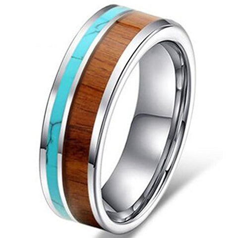 Tungsten with Koa Wood and Solid Turquoise Flat Top Ring