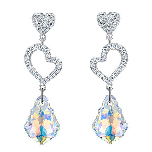 925 Sterling Silver CZ Open Heart Baroque Dangle Earrings Iridescent Aurora Borealis Adorned with Swarovski crystals