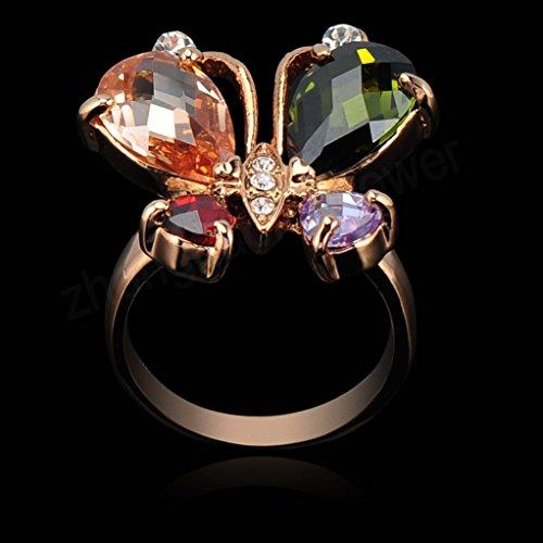 18k Gold Plated Butterfly Wings Multi-color Zirconia Crystal Az0213r Ring (Available in Sizes 7 8 9 )