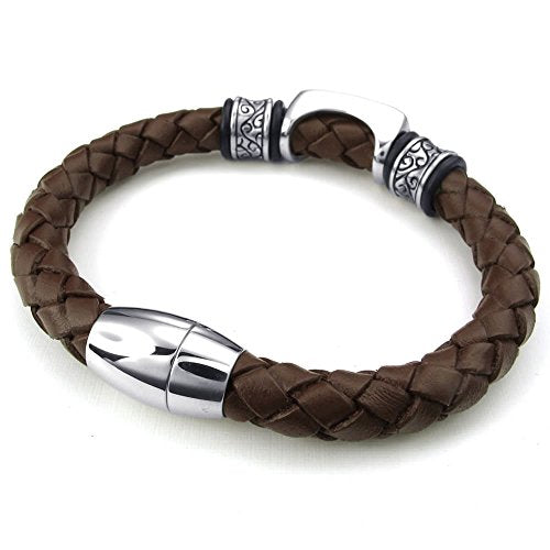Men Leather Stainless Steel Bracelet, Charms Bangle Magnetic Clasp, Brown - 8, 8.5, 9 inch - InnovatoDesign