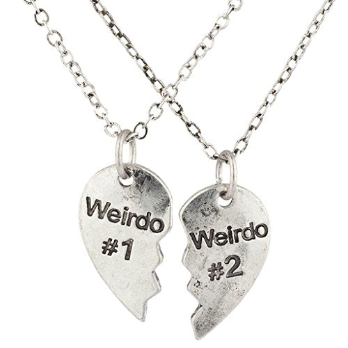 Silvertone Weirdo 1 2 BFF Best Friends Heart Charm Necklaces 2PC - InnovatoDesign