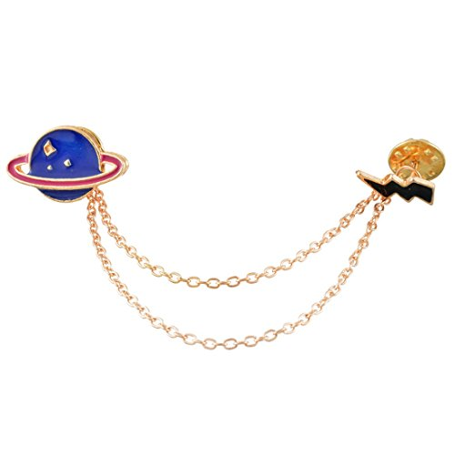 Novelty Cartoon Gold Color Planet Clip Pin Brooch for Women and Girls - InnovatoDesign