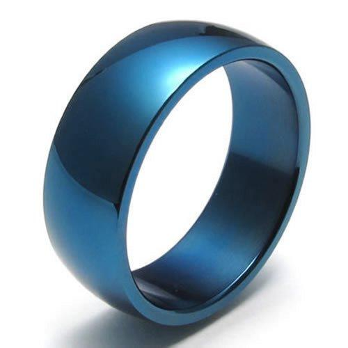 8mm Stainless Steel Band Men Ring,Blue