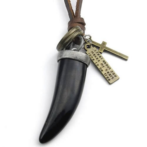 Black Vintage Wolf Tooth Cross Pendant Leather Cord Men Necklace