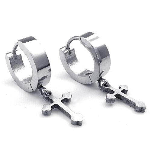 Men Women Stainless Steel Cross Huggie Hinged Hoop Earrings, Silver