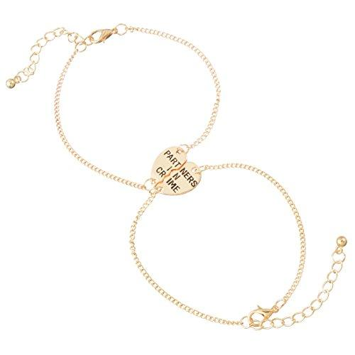 Gold Color Split Valentine Heart Partners in Crime Engraved Friendship Bracelet Set of 2