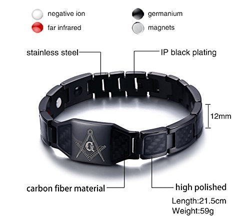 Stainless Steel Black Carbon Fiber Enamel Masonic Magnetic Bracelets for Men - InnovatoDesign