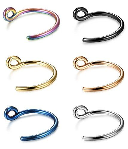 18-20G 6 Pcs Stainless Steel Nose Ring Hoop Body Jewelry Piercing Nose Piercing 8-10MM