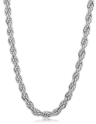 4MM Stainless Steel Twist Rope Chain Necklace for Men Women,16-36 inches