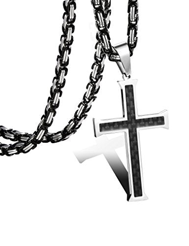 Stainless Steel Carbon Fiber Cross Necklace for Men Byzantine Chain Necklace 5MM,22-30 Inches - InnovatoDesign