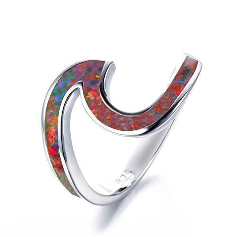 Vibrant 925 Sterling Silver Lab Replicated Multicolor Orange Opal Wave Ring