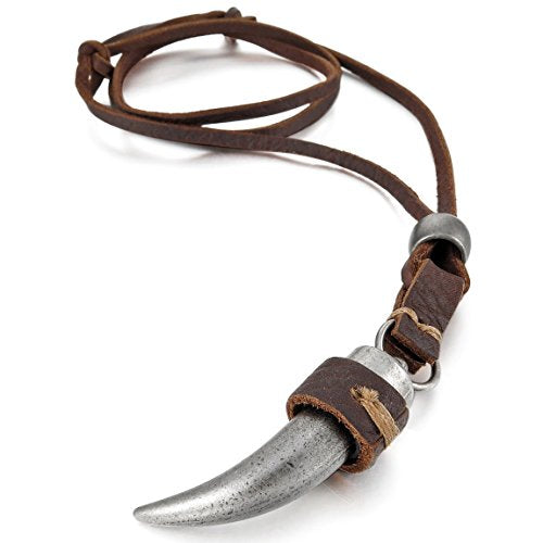 Men's Alloy Genuine Leather Pendant Necklace Silver Tone Wolf Tooth Adjustable