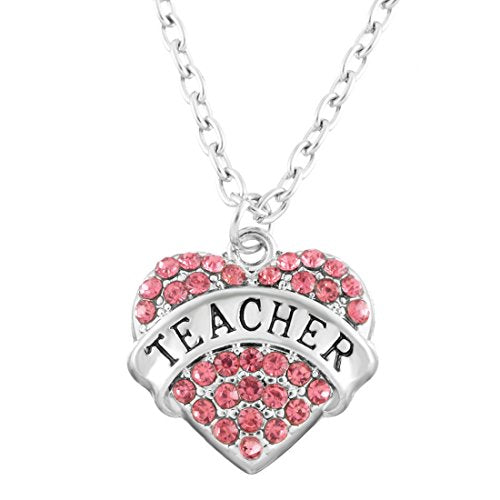 Women's Silver Color Pink Rhinestone TEACHER Heart Pendat Family Necklace - InnovatoDesign