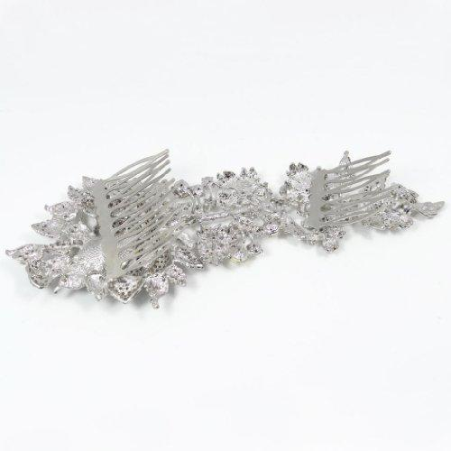 7.8 Inch Bridal Silver-Tone Big Flower Teardrop Austrian Crystal Clear Hair Comb