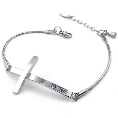 Women Cubic Zirconia Stainless Steel Bracelet, Sideways Cross Charm, Silver
