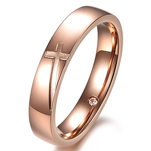Men Women Vintage Rose White Gold Stainless Steel Engrave Cross Couples Ring Wedding Band CZ Inlay - InnovatoDesign