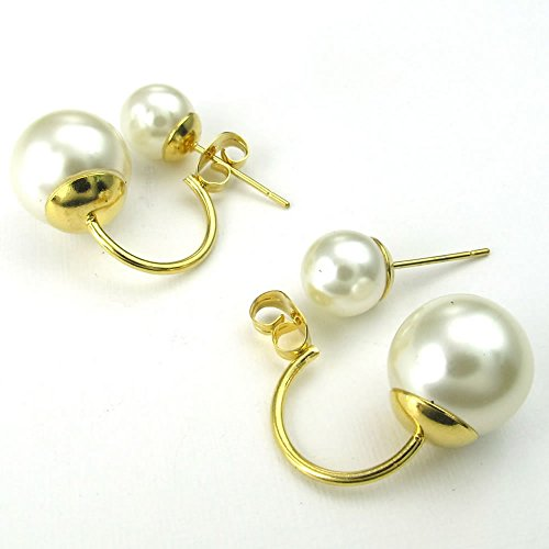 Women Venetian Pearl Stainless Steel Stud Earrings Set, Gold Whit - InnovatoDesign